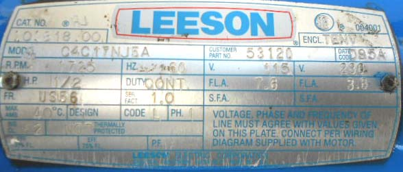 Leeson_C4C17NJ5A_Wheelchair_Lift_Name_Plate leeson c4c17nj5a wheelchair lift motor repair & rewinds eurton leeson ac gearmotor wiring diagram at n-0.co