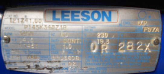 Leeson Electric Corp  P145k34dz1b Floor Sander Motor